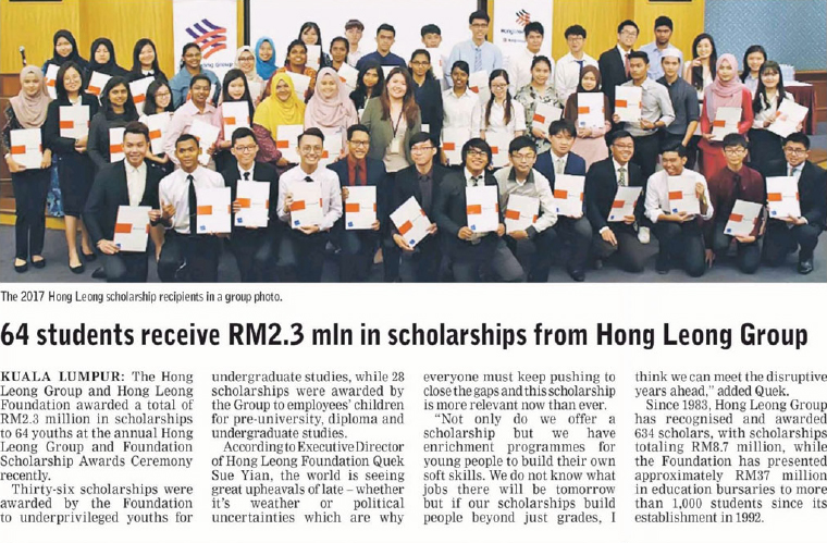Borneo Post (Kuching) - 64 Students Received RM2.3million of Scholarships From Hong Leong Group